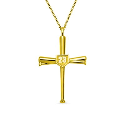 Engraved Baseball Cross Necklace Gold