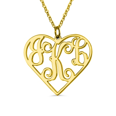 Gold Plated Silver Initial Monogram Personalized Heart Necklace