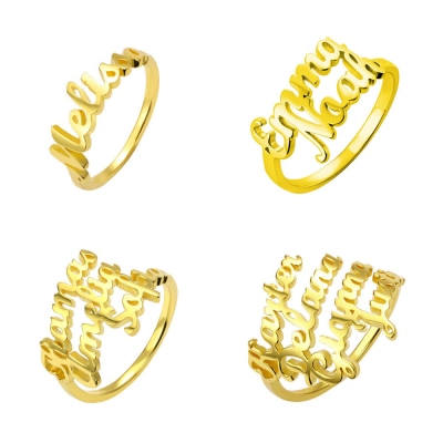 Personalized Multiple Name Ring in Gold