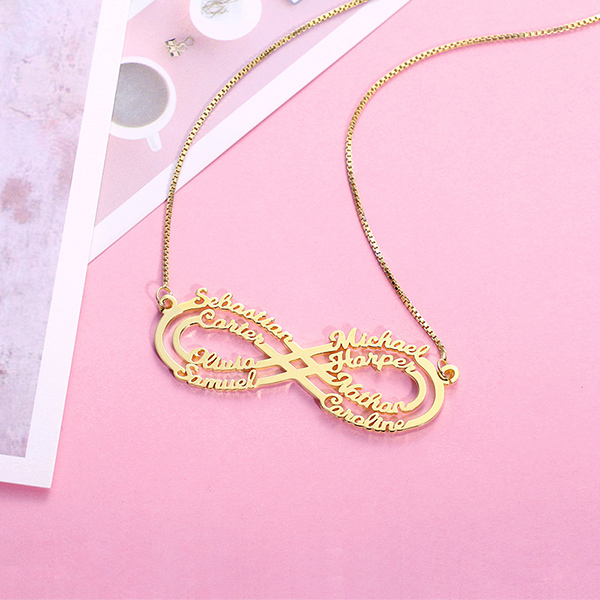ba2e813c547c3 Personalized 8 Names Infinity Necklace in Gold