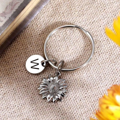 Personalized Sunflower Key Chains in Stainless Steel