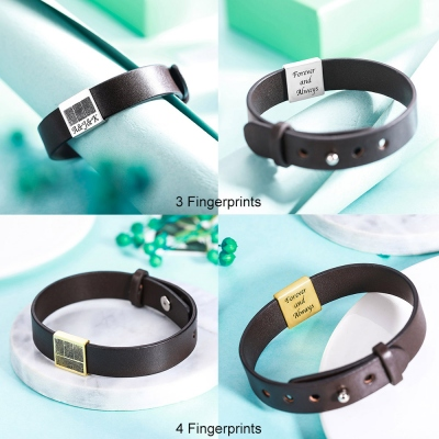 Personalized Fingerprint Men's Leather Bracelet