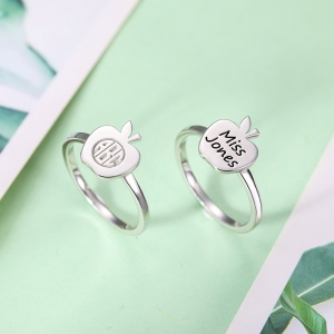 Personalized Engraved Apple Ring for Teacher