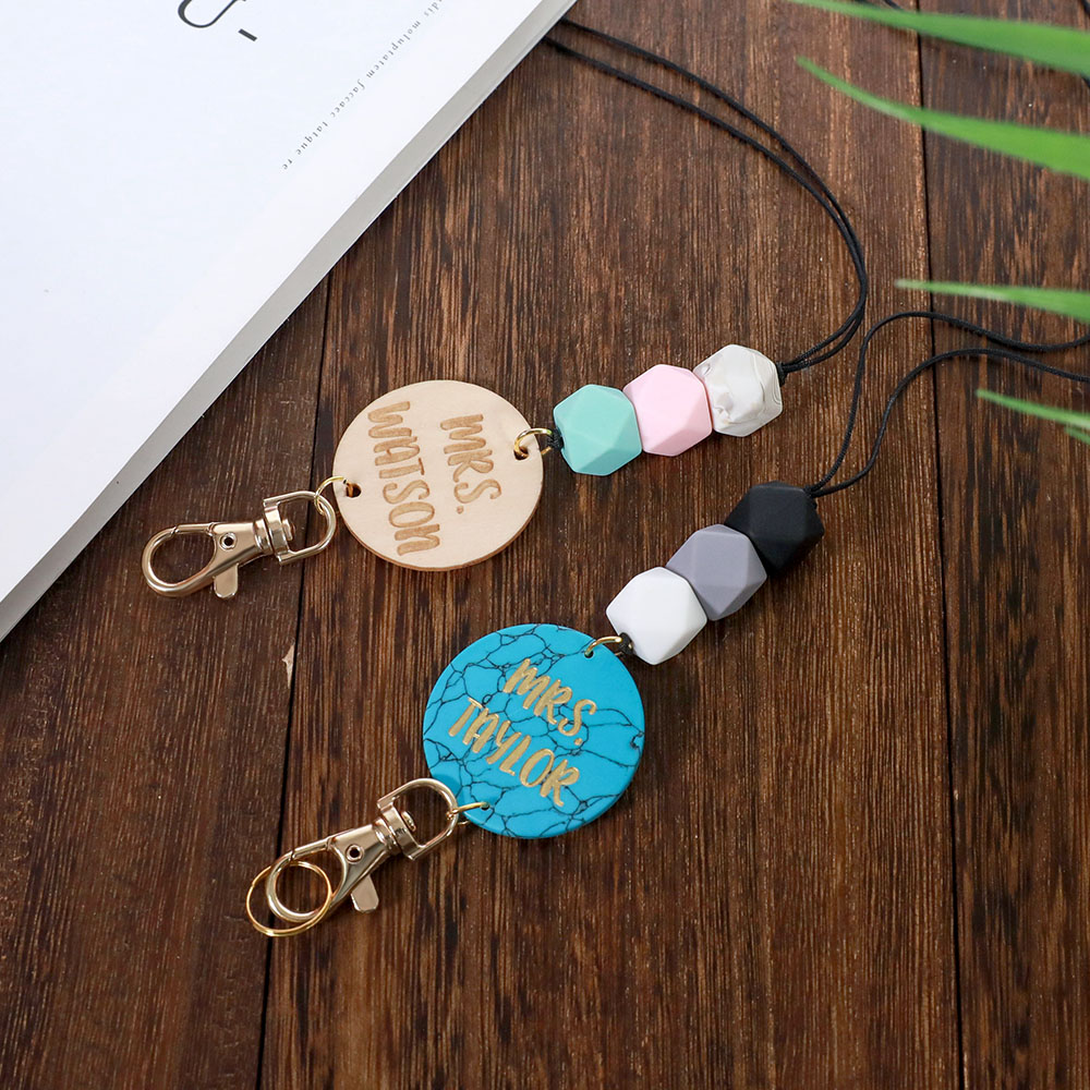 Personalized Wood/Turquoise/Shell with Hexagon Beads Lanyard