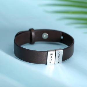 Personalized Name Leather Bracelet for Family