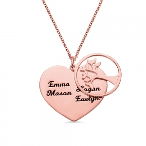 Personalized 1-13 Family Love Tree Name Necklace