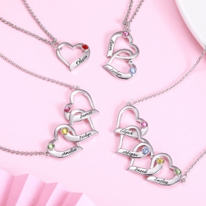 Personalized Intertwined Hearts Necklace with Birthstone