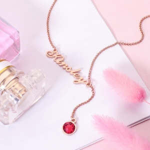 Personalized Simple Name & Birthstone Y Necklace in Rose Gold