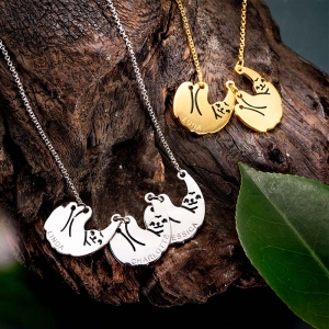 Personalized Sloth Family Necklace