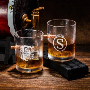 Personalized Bullet Whiskey Glass Gift for Him