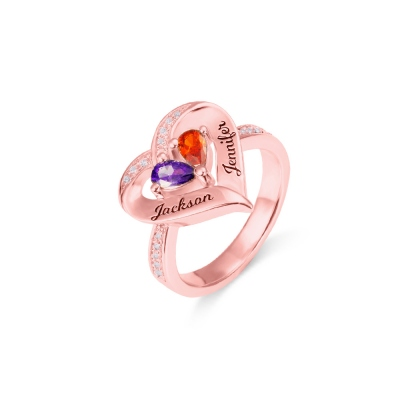 Forever Together Engraved Birthstone Heart Ring for Her