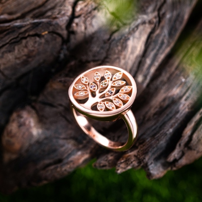 Personalized Family Tree Birthstone Ring in Rose Gold