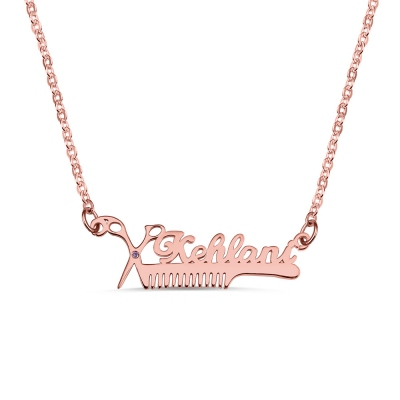 Personalized Hairdresser Birthstone Name Necklace
