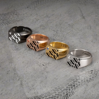 Personalized Tire Mark Ring with Birthstone