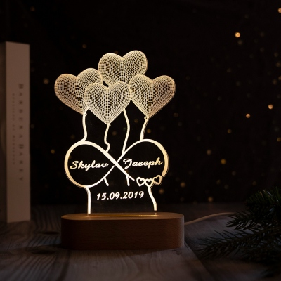Personalized 3D Illusion Lamp Gift for Her Anniversary Gift