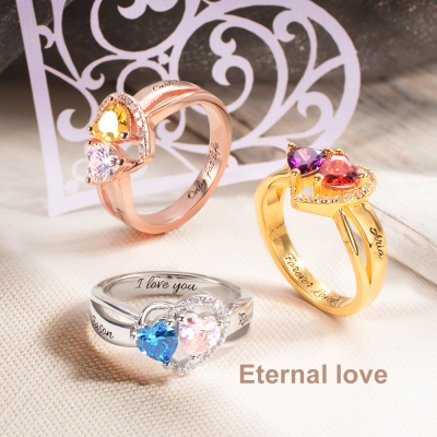 Custom Heart Birthstone Ring Sterling Silver
