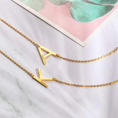 Personalized Sideways Initial Name Necklace