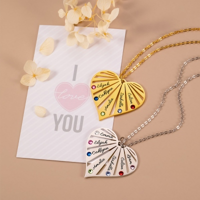 Family Heart Name Necklace with Birthstone
