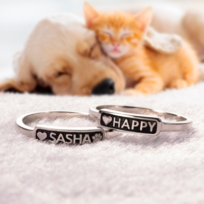 Personalized Pet Memorial Ring Paw Print Ring