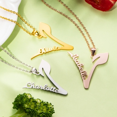 Personalized Vegan Name Necklace for Vegetarian Gift