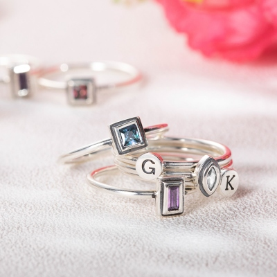 Personalized Initial and Birthstone Stackable Ring