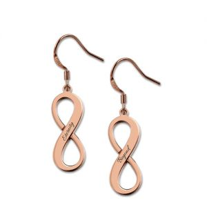 Engraved Infinity Symbol Name Earrings In Rose Gold