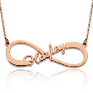 Personalized Single Infinity Name Necklace In Rose Gold