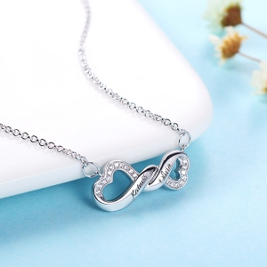 Infinity Double Heart Name Neckace