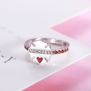 Personalized Police Badge Ring & Firefighter Badge Ring