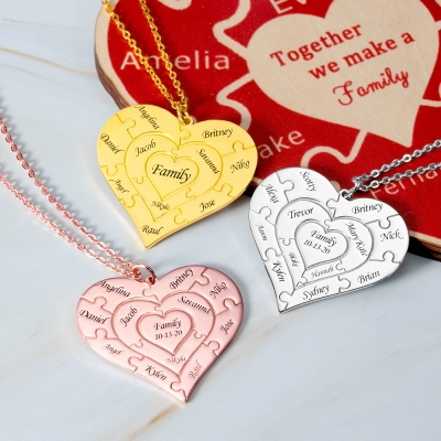 Personalized Heart Puzzle Necklace