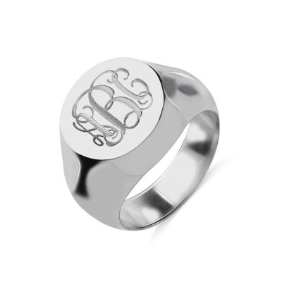 Engravable Signet Radiant Monogram Ring Sterling Silver