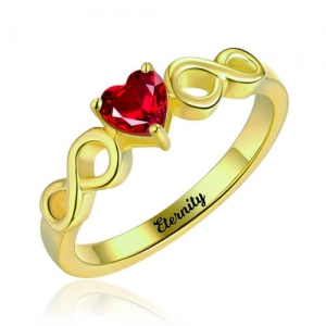 Engraved Double Infinity Ring With Heart Birthstone Gold Plated