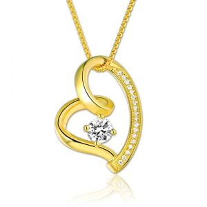 Love In Your Heart Birthstone Necklace Gold Plated