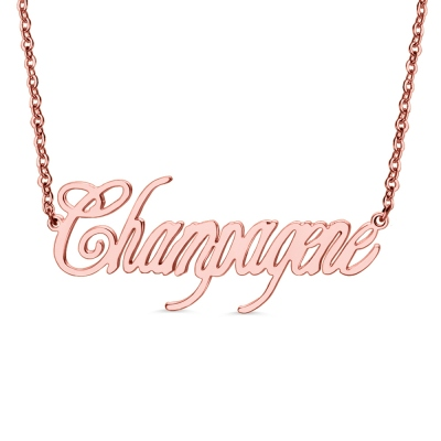 Rose Gold Personalized Champagne Name Necklace