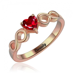Infinity Ring With Heart Birthstone In Rose Gold
