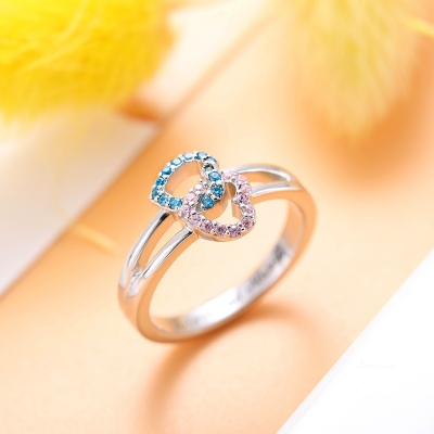 Engraved Double Heart Ring with Birthstone by Sterling Silver