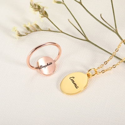 Personalized Birth Flower Necklace & Ring With Engraving