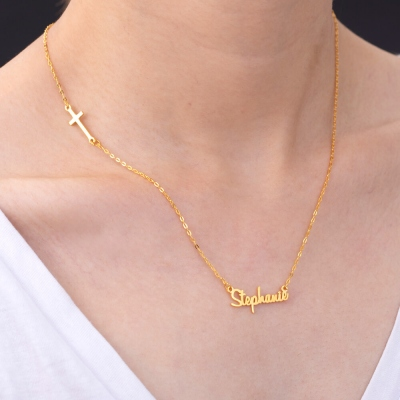 Personalized Sideways Cross Name Necklace