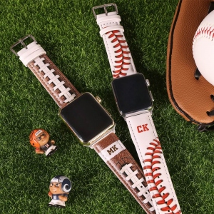 Personalized Baseball Leather Watch Band for Apple Watch