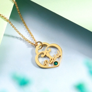 Personalized Heart Lock Birthstone Name Necklace