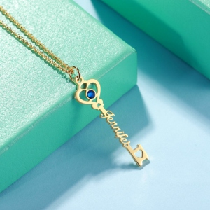 Personalized 'Key To True Love' Birthstone Name Necklace