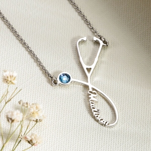 Personalized Birthstone Stethoscope Necklace & Ring