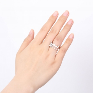 Personalized Large Initial Stackable Ring Silver