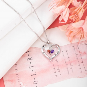 Forever Together Twisted Strings Birthstone Engraving Necklace