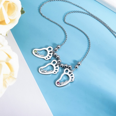 Personalized 1-6 Hollow Foot Name Necklace