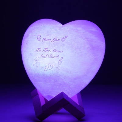 Personalized Heart Photo 3D Moon Lamp with Remote