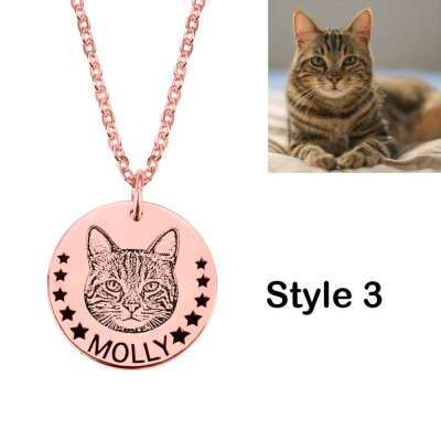 Personalized Pet Head Portrait Necklace Photo Necklace