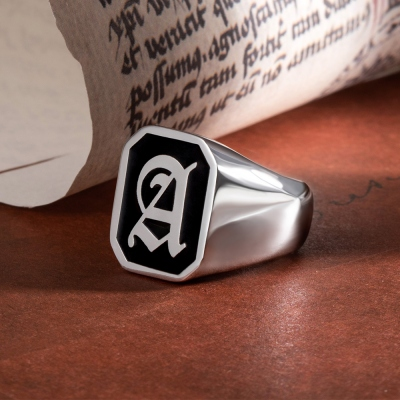 Personalized Initial Signet Ring Unisex