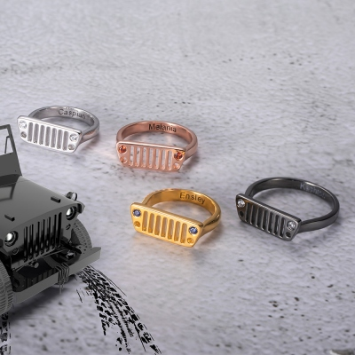 Personalized Jeep Tire Printed Birthstone Ring