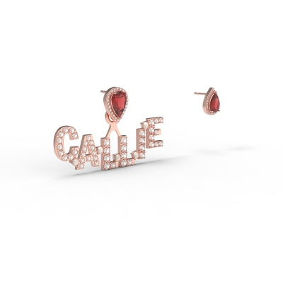 Personalized Initail Birthstone Earrings